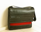 "LAPTOP BAG 13""  in Red Felt and Recycled innertubes - for women"