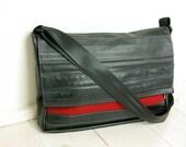 """LAPTOP BAG 15""""  in Red Felt and Recycled innertubes"""