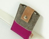 FELT IPHONE COVER - cover in 2 colors felt and leather closure - pink and brown blend