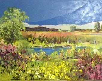 "Canadian landscape, Quebec painting- home decor, Original Oil Painting  on canvas (12"" X 16"")"