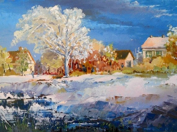 """SALE - First Snow -  Original canadian oil painting on canvas, Winter landscape - (12"""" X 16"""") by Shirley Levie"""