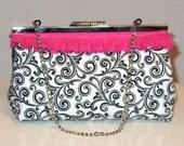 "8"" Clutch - handbag purse black white pink silver gift wedding pretty flourish girly handmade valentine's day for her"