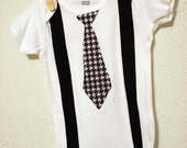 Houndstooth Tie Onesie with Black Suspenders