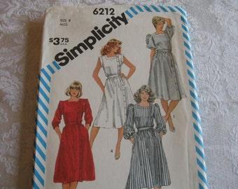 Vintage 80'S UNCUT Misses Semi-Fitted Dresses Simplicity 6212 Size 8