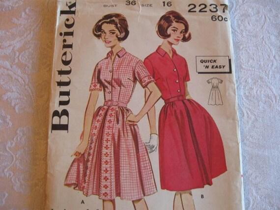 UNCUT  Vintage 60s Butterick 2237 Misses Size 16 Quick Dress pattern
