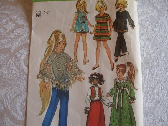 Vintage 70s DOLL CLOTHES PATTERN - Complete 6 Piece Wardrobe - Simplicity 9138