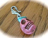 Pendant- Pink Skull Pendant with Turquoise shell accent on oversized bail (listing G2)