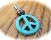 Peace SIgn Turquoise Pendant