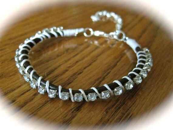 Leather Wrap Rhinestone Bracelet in White