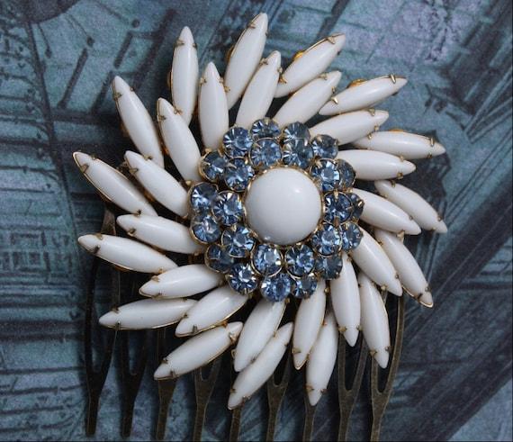 Bridal Hair Combs,Bridal Hair Accessories,Milk Glass,Blue Bridal, Wedding Hair Accessories,Blue Hair Comb, Wedding Hair Comb, White Flower