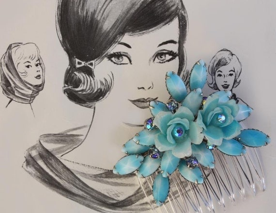 Bridal Hair Comb, Blue Hair Comb, Hair Accessories, Vintage Hair Comb, Bridal Hair Accessories, Wedding