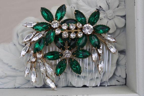 Bridal Hair Comb, Green Wedding, Emerald Green, Green Hair Comb, Bridal Hair Accessories, Emerald Earrings, Vintage Bridal Jewelry