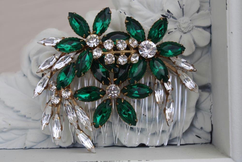 Bridal Hair Comb Green Wedding Emerald Green Green Hair