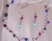 Freeform Wire and Bead Necklace & Earring Set -  ENLIGHTENMENT