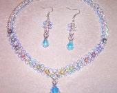 WEDDING DAY all Swarovski crystal in Aurora Borealis finish and Silver