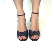 1950s Mink Ankle Strap Heels 7