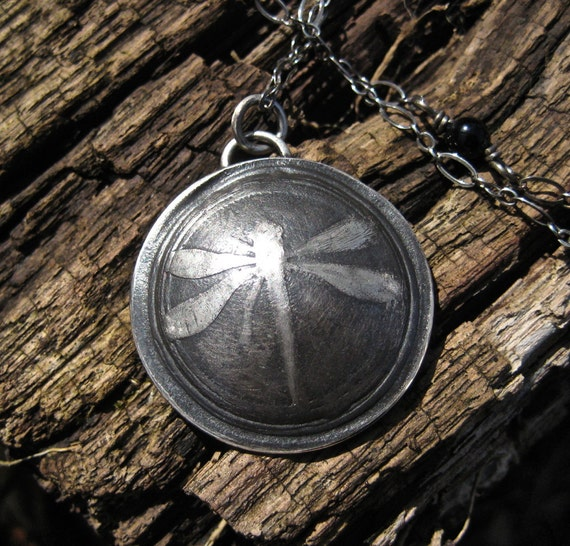 Silver Dragonfly Necklace/ Fine Silver Necklace/ Dragonfly Jewelry/ Artisan Jewelry