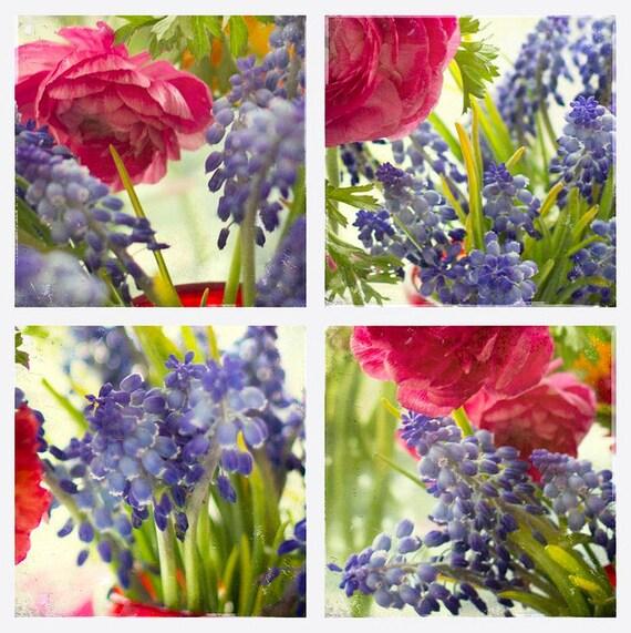 "Sale-Fine Art Photography-Floral Photography Set- Vintage Look Photography-Set of 4 Photos- 5x5  Prints-""Vintage Garden"""