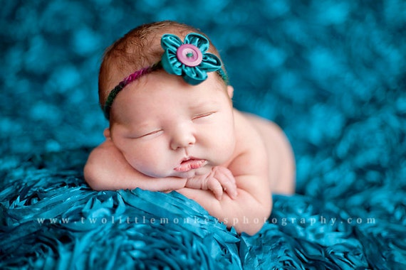 Reseved  Backdrop fabric Peacock teal Newborn posing fabric photo prop
