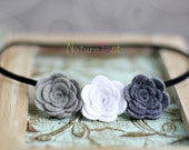 Just Love . Felt Rose Skinny Headband . vintage pure white and charcoal grey and silver