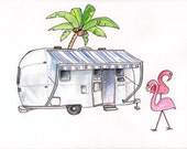 "Airstream with Flamingoes, Print of Colored Pencil Drawing 8""x10"""