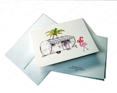 "Airstream with Flamingoes,  Note Card, Print of Colored Pencil Drawing 4.25""x5.5"" with Envelope"