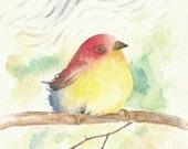 "Lovee Bird, 6""x9"" print watercolor of a bird I imagined"