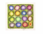 """The Cabbage Patch, PRINT of Abstract Drawing in Colored Pencil, 4.5"""" x 4.5"""""""