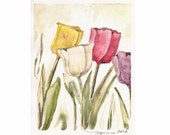 """Just a Few, a 4""""x5"""" print of a watercolor with a few Tulips, printed on 8""""x10"""" paper"""
