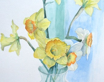 """Daffodils, Watercolor 14"""" x 16"""", Double-matted in green"""