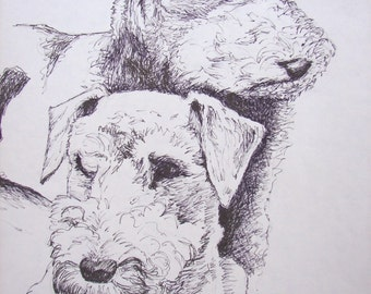 """Two Pets - Custom Pencil Drawing of Two Pets in One Drawing 8""""x10"""""""