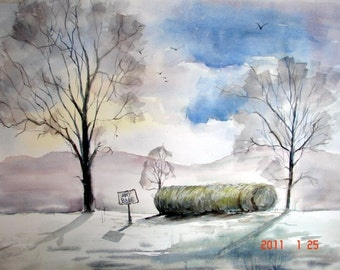 "Original Watercolor Painting, Fall Hay Roll and Sky, 21"" x 30"""