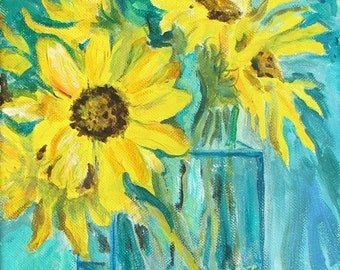 """Sunflowers in Vase, Acrylic Painting, Original 8"""" by 10"""""""