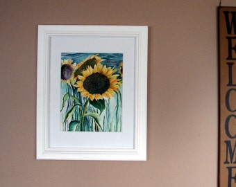 "Sunflowers Above the Bay, 7.5"" by 10.25"" print of an original watercolor"
