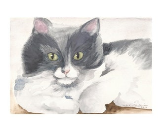 "Kasumi Up Close, 8"" x 10"" Print of Watercolor painting of our Grey Cat"