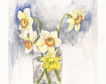 "Narcissus in a Glass Jar, Print of Watercolor 8""x10"""