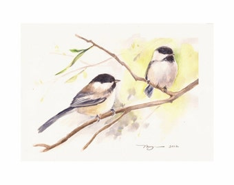 "Chickadees, Print of Watercolor Painting, 10""x8"" or 7""x5"""
