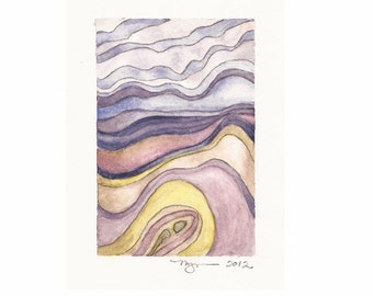 "Layers 3, print of watercolor abstract painting, 3""x4.5"" on 8""x10"" paper"