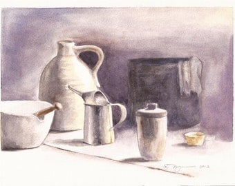 "Vintage Vessels, an Original Watercolor, 8"" x 10"" on slightly larger paper"