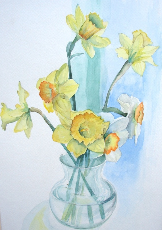 "Daffodil watercolor, print, yellow and green, 9"" x 11"""