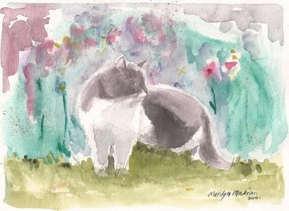 """Kasumi the Cat, 7"""" x 9"""" print of original watercolor"""