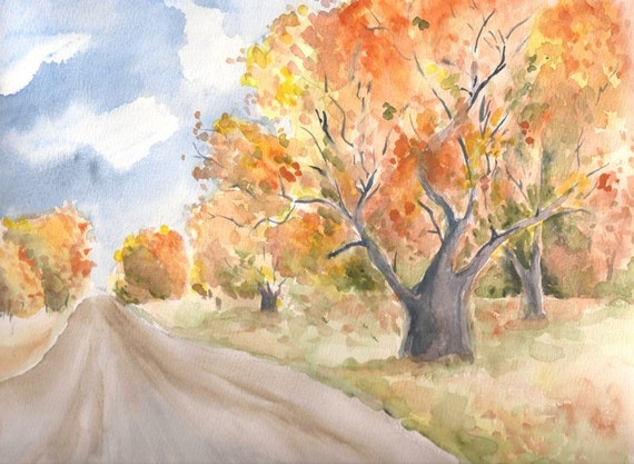 "Country Road in Autumn, Original Watercolor Painting, 9""x12"""