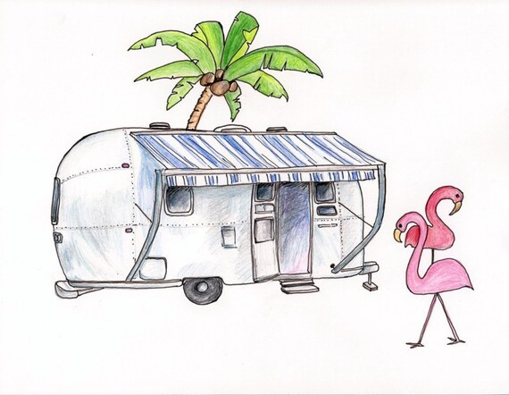 """Airstream with Flamingoes, Print of Colored Pencil Drawing 8""""x10"""""""
