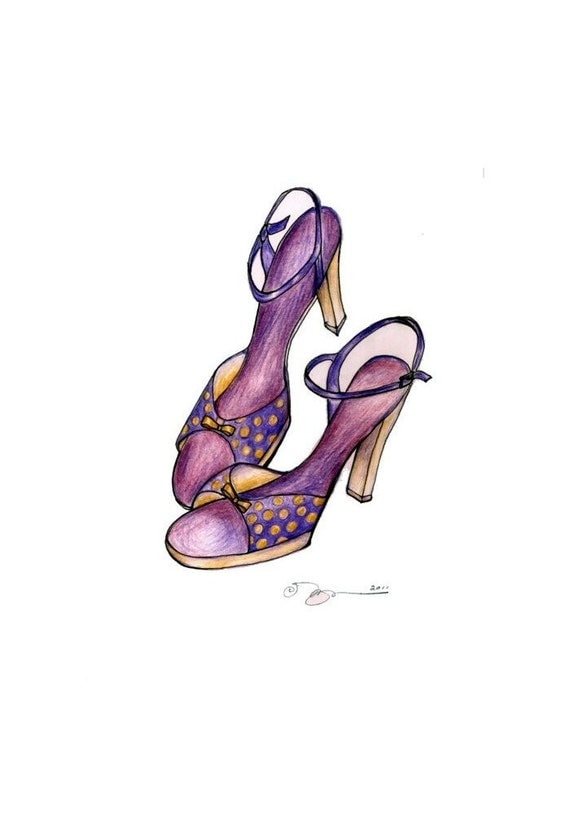 """Lavender Polka Dot Dancing Shoes, Print of Drawing in Colored Pencil 8"""" x 10"""""""