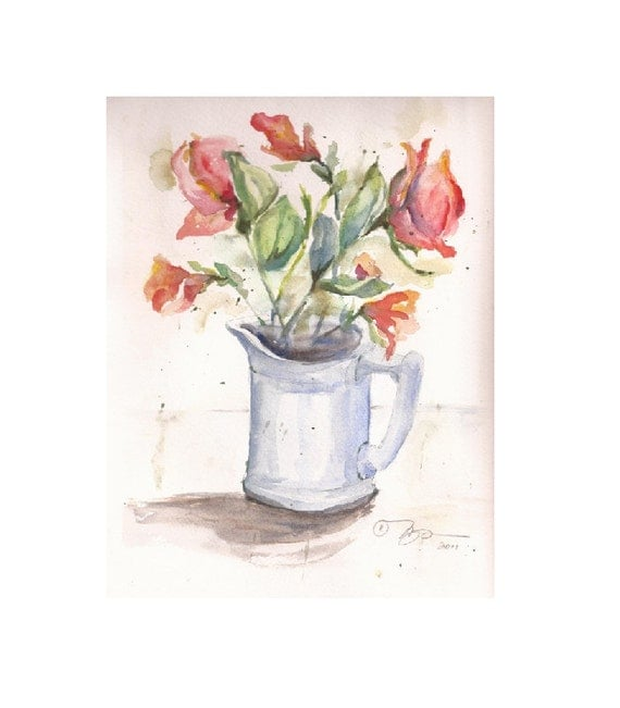 "Watercolor Sketch of Flowers in Pitcher, 8"" x 10""  Original"