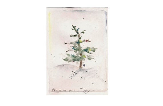"""Fir in Snow II, holiday watercolor print 4""""x6.5"""", on 8"""" x 10"""" paper"""