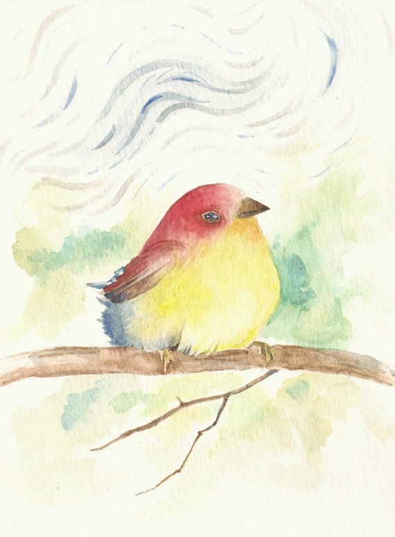 "Lovee Bird, 6""x9"" print watercolor of a bird I imagined"