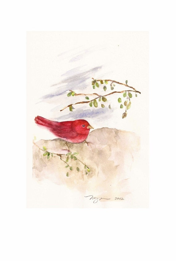 """Summer Tanager, Original Watercolor Painting 6""""x9"""""""