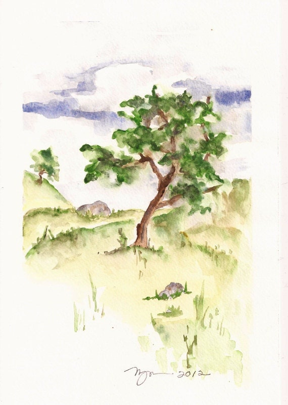 "Tree on Hill, Orginal Watercolor Painting 6""x9"""