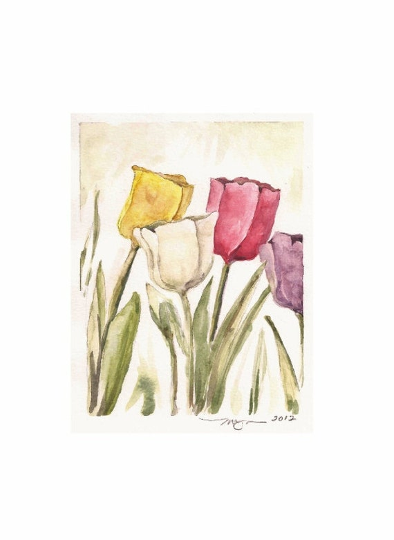 "Just a Few, a 4""x5"" print of a watercolor with a few Tulips, printed on 8""x10"" paper"